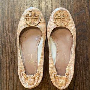 Tan Croc Tory Burch Reva Flats sz 9.5
